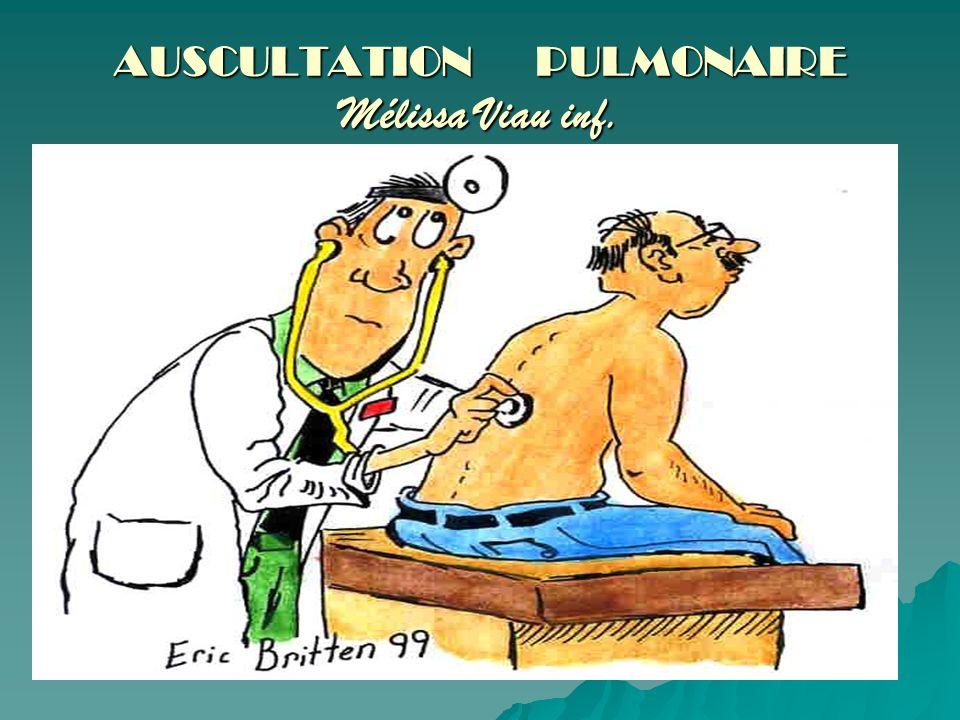 Plan Rappel anatomophysiologique Technique dauscultation Bruits respiratoires normaux Bruits respiratoires adventices Ce qui est entendu chez le patient atteint de MPOC??.