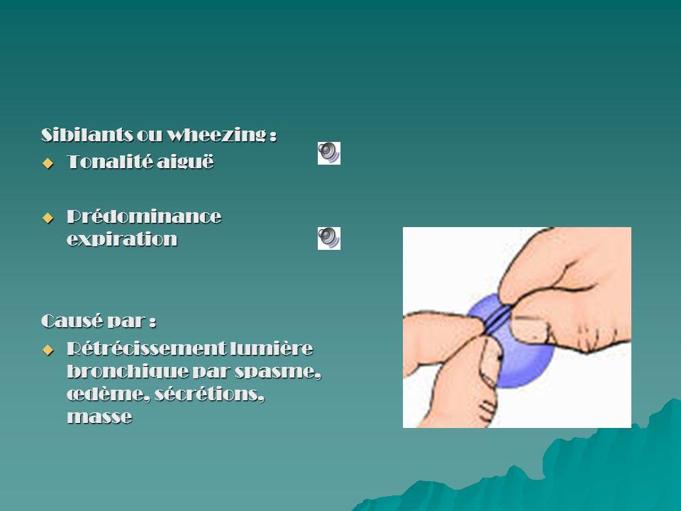 Sibilants ou wheezing : Tonalité aiguë Tonalité aiguë Prédominance expiration Prédominance expiration Causé par : Rétrécissement lumière bronchique pa