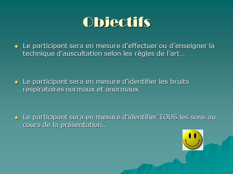 Objectifs Le participant sera en mesure deffectuer ou denseigner la technique dauscultation selon les règles de lart… Le participant sera en mesure de