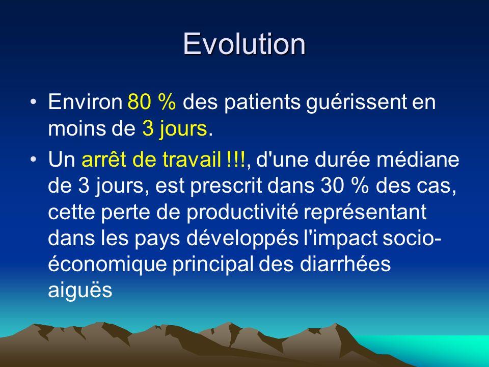 Evolution Environ 80 % des patients guérissent en moins de 3 jours. Un arrêt de travail !!!, d'une durée médiane de 3 jours, est prescrit dans 30 % de