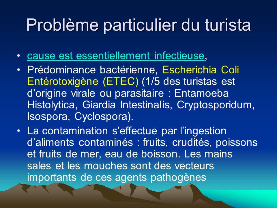 Problème particulier du turista cause est essentiellement infectieuse,cause est essentiellement infectieuse Prédominance bactérienne, Escherichia Coli Entérotoxigène (ETEC) (1/5 des turistas est dorigine virale ou parasitaire : Entamoeba Histolytica, Giardia Intestinalis, Cryptosporidum, Isospora, Cyclospora).