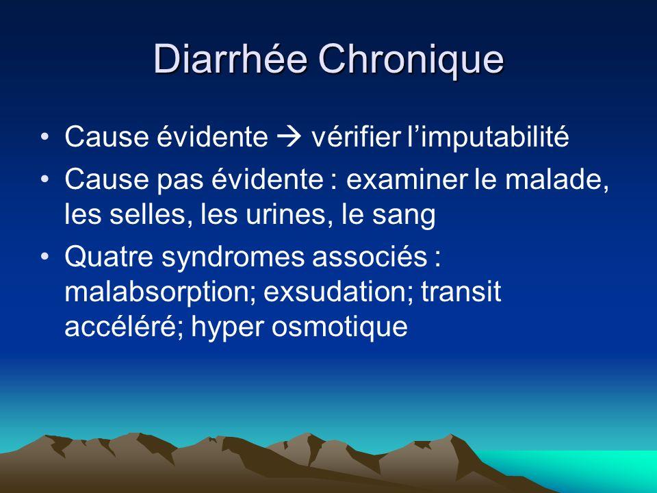 Diarrhée Chronique Cause évidente vérifier limputabilité Cause pas évidente : examiner le malade, les selles, les urines, le sang Quatre syndromes associés : malabsorption; exsudation; transit accéléré; hyper osmotique