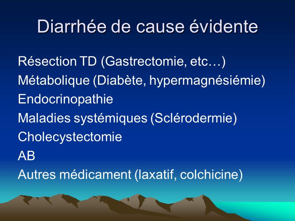 Diarrhée de cause évidente Résection TD (Gastrectomie, etc…) Métabolique (Diabète, hypermagnésiémie) Endocrinopathie Maladies systémiques (Sclérodermie) Cholecystectomie AB Autres médicament (laxatif, colchicine)