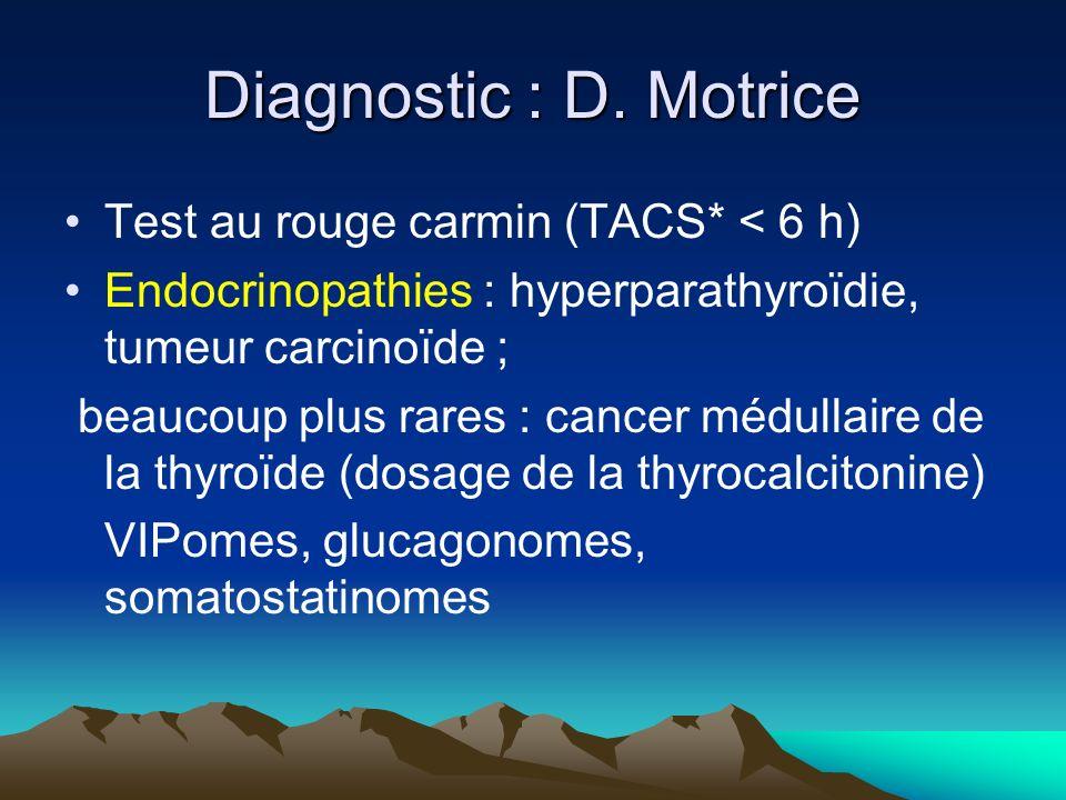 Diagnostic : D. Motrice Test au rouge carmin (TACS* < 6 h) Endocrinopathies : hyperparathyroïdie, tumeur carcinoïde ; beaucoup plus rares : cancer méd