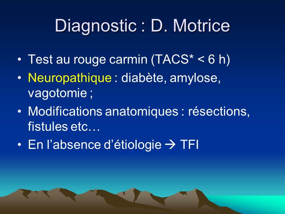 Diagnostic : D. Motrice Test au rouge carmin (TACS* < 6 h) Neuropathique : diabète, amylose, vagotomie ; Modifications anatomiques : résections, fistu