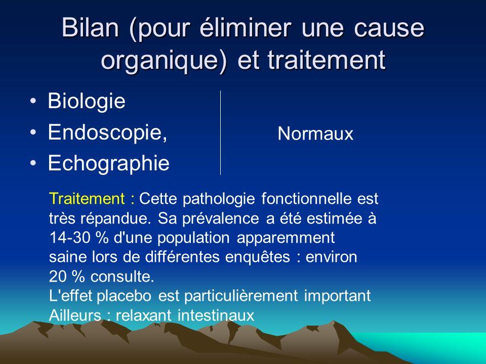 Bilan (pour éliminer une cause organique) et traitement Biologie Endoscopie, Echographie Normaux Traitement : Cette pathologie fonctionnelle est très répandue.