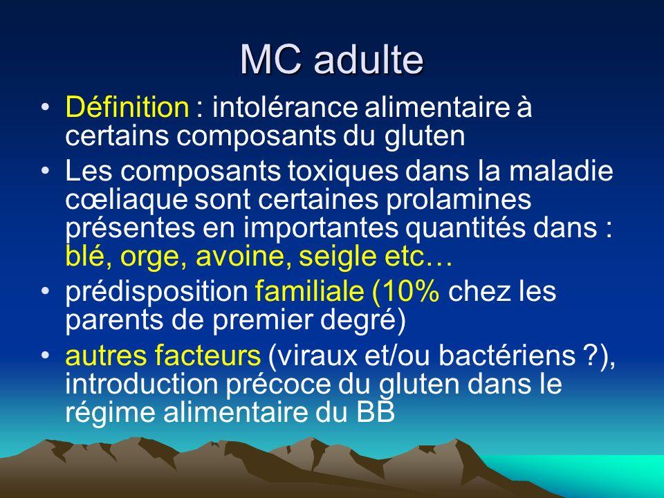 MC adulte Définition : intolérance alimentaire à certains composants du gluten Les composants toxiques dans la maladie cœliaque sont certaines prolami