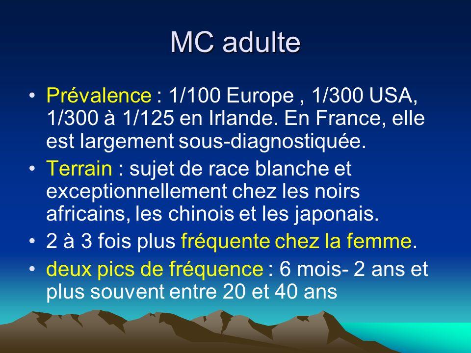 Prévalence : 1/100 Europe, 1/300 USA, 1/300 à 1/125 en Irlande. En France, elle est largement sous-diagnostiquée. Terrain : sujet de race blanche et e