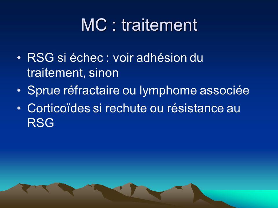 MC : traitement RSG si échec : voir adhésion du traitement, sinon Sprue réfractaire ou lymphome associée Corticoïdes si rechute ou résistance au RSG