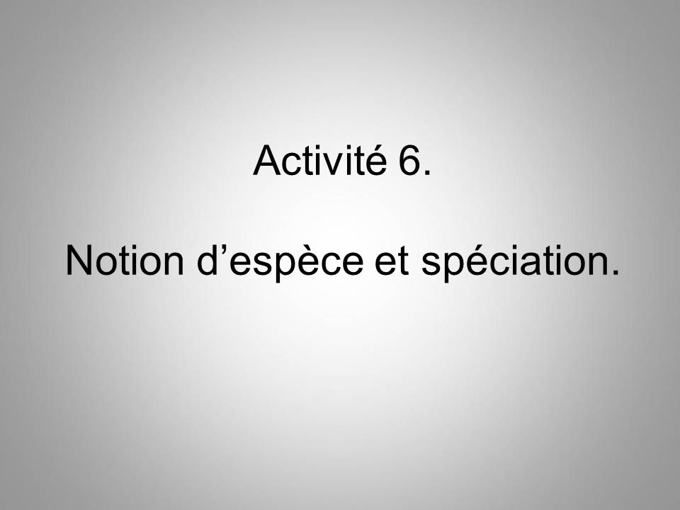 Activité 6. Notion despèce et spéciation.