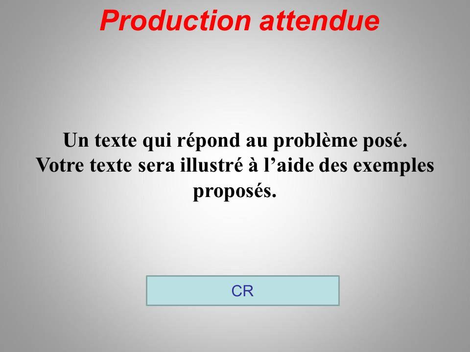 Production attendue CR Un texte qui répond au problème posé. Votre texte sera illustré à laide des exemples proposés.