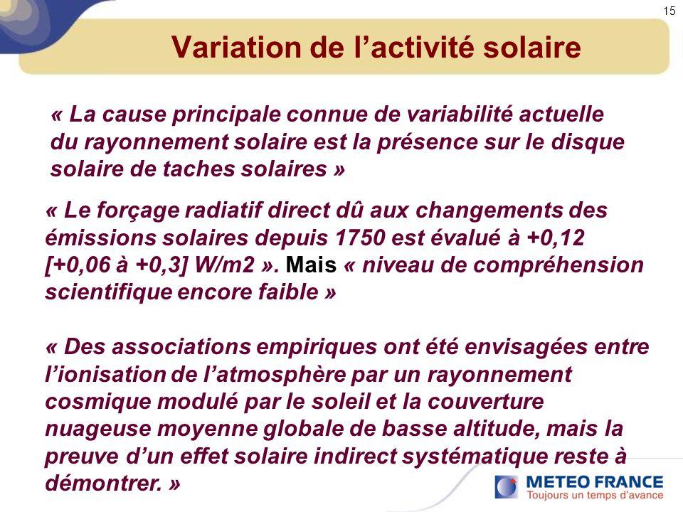 Variation de lactivité solaire « La cause principale connue de variabilité actuelle du rayonnement solaire est la présence sur le disque solaire de taches solaires » « Le forçage radiatif direct dû aux changements des émissions solaires depuis 1750 est évalué à +0,12 [+0,06 à +0,3] W/m2 ».