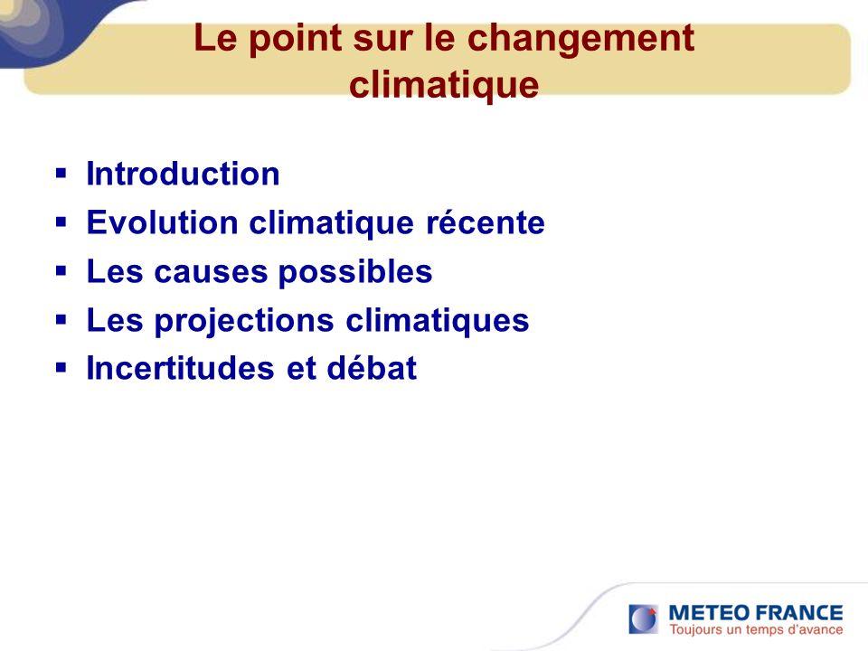 Le point sur le changement climatique Introduction Evolution climatique récente Les causes possibles Les projections climatiques Incertitudes et débat