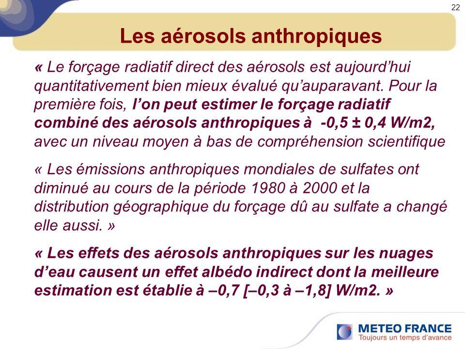 Les aérosols anthropiques « Le forçage radiatif direct des aérosols est aujourdhui quantitativement bien mieux évalué quauparavant.