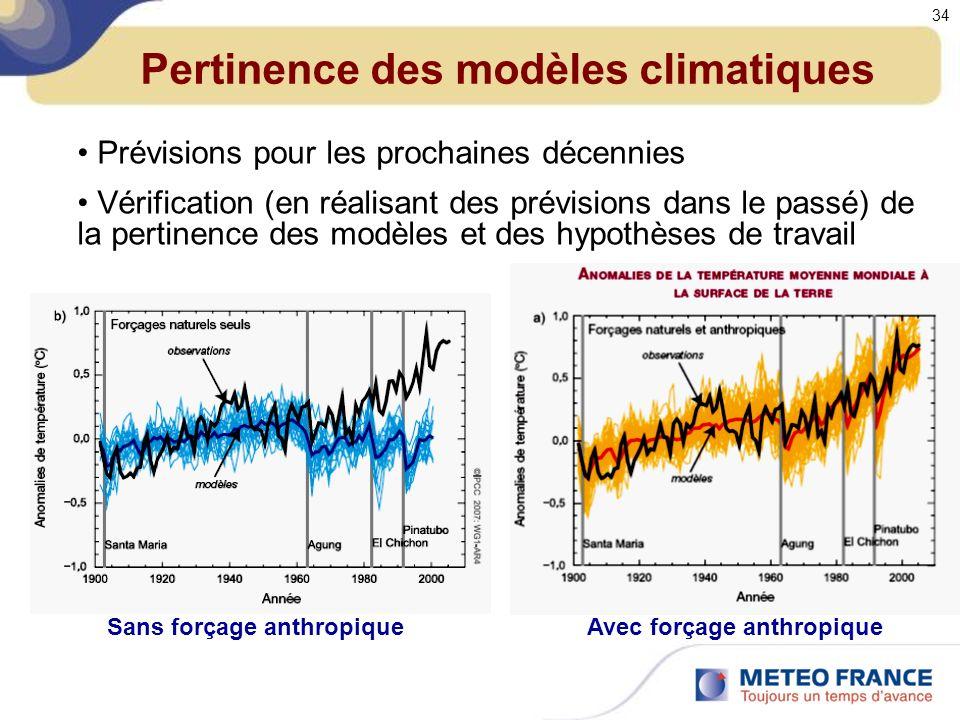 Pertinence des modèles climatiques Prévisions pour les prochaines décennies Vérification (en réalisant des prévisions dans le passé) de la pertinence des modèles et des hypothèses de travail Sans forçage anthropiqueAvec forçage anthropique 34