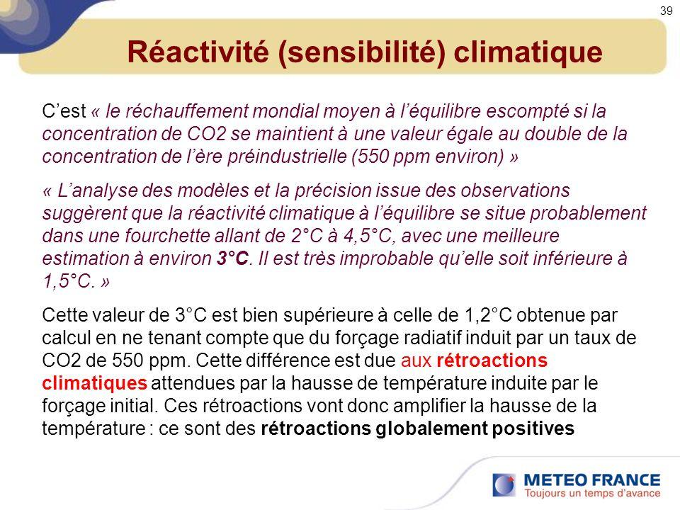 Réactivité (sensibilité) climatique Cest « le réchauffement mondial moyen à léquilibre escompté si la concentration de CO2 se maintient à une valeur égale au double de la concentration de lère préindustrielle (550 ppm environ) » « Lanalyse des modèles et la précision issue des observations suggèrent que la réactivité climatique à léquilibre se situe probablement dans une fourchette allant de 2°C à 4,5°C, avec une meilleure estimation à environ 3°C.