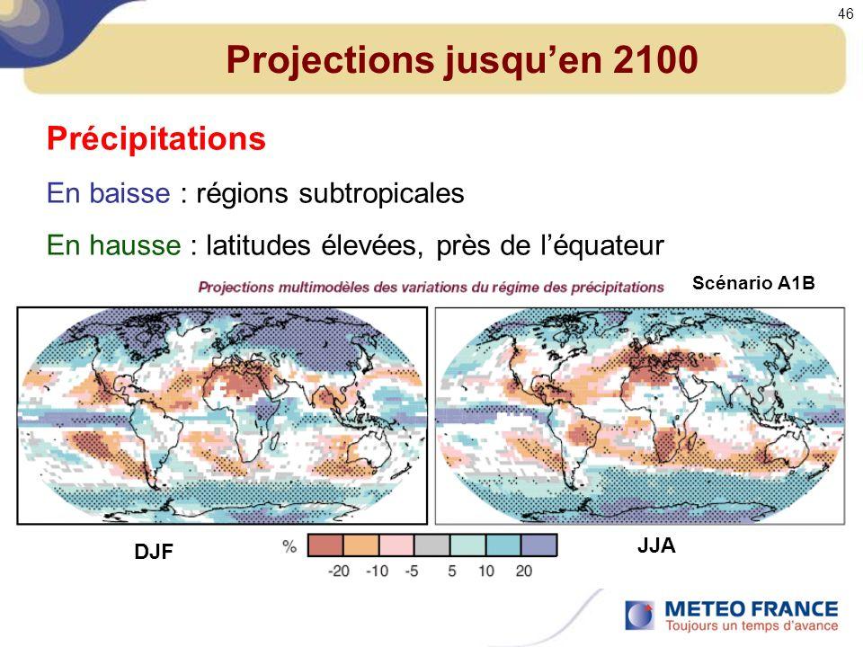 Projections jusquen 2100 Précipitations En baisse : régions subtropicales En hausse : latitudes élevées, près de léquateur DJF JJA Scénario A1B 46