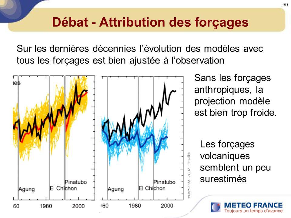 Débat - Attribution des forçages Sur les dernières décennies lévolution des modèles avec tous les forçages est bien ajustée à lobservation Sans les forçages anthropiques, la projection modèle est bien trop froide.