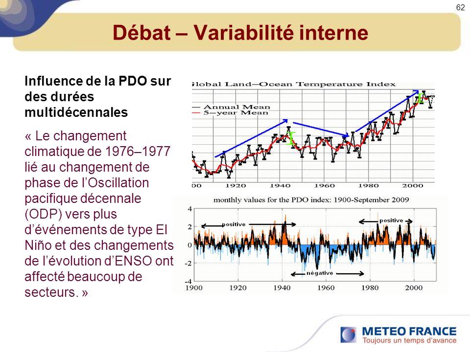 Débat – Variabilité interne Influence de la PDO sur des durées multidécennales « Le changement climatique de 1976–1977 lié au changement de phase de lOscillation pacifique décennale (ODP) vers plus dévénements de type El Niño et des changements de lévolution dENSO ont affecté beaucoup de secteurs.