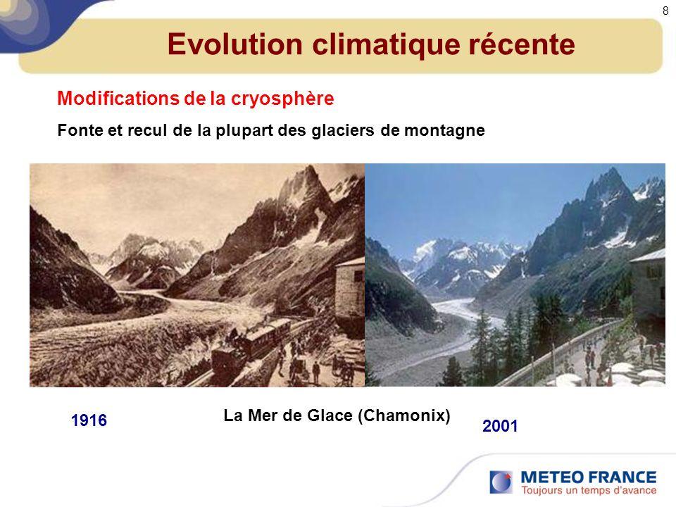 Modifications de la cryosphère Fonte et recul de la plupart des glaciers de montagne La Mer de Glace (Chamonix) 1916 2001 Evolution climatique récente 8