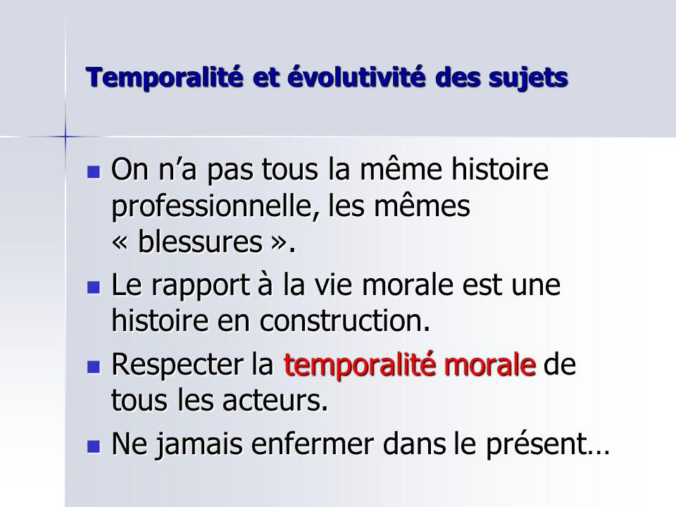 Temporalité et évolutivité des sujets On na pas tous la même histoire professionnelle, les mêmes « blessures ».