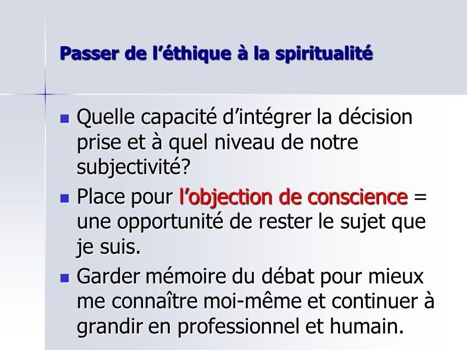 Passer de léthique à la spiritualité Quelle capacité dintégrer la décision prise et à quel niveau de notre subjectivité.