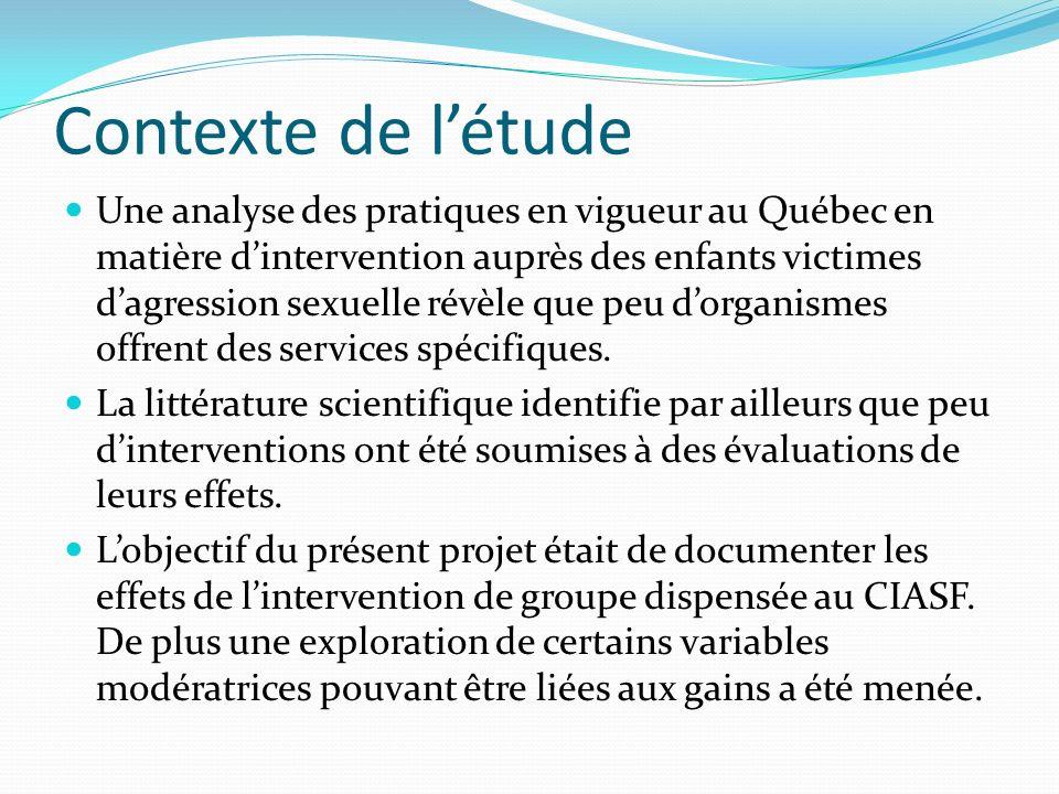 Contexte de létude Une analyse des pratiques en vigueur au Québec en matière dintervention auprès des enfants victimes dagression sexuelle révèle que