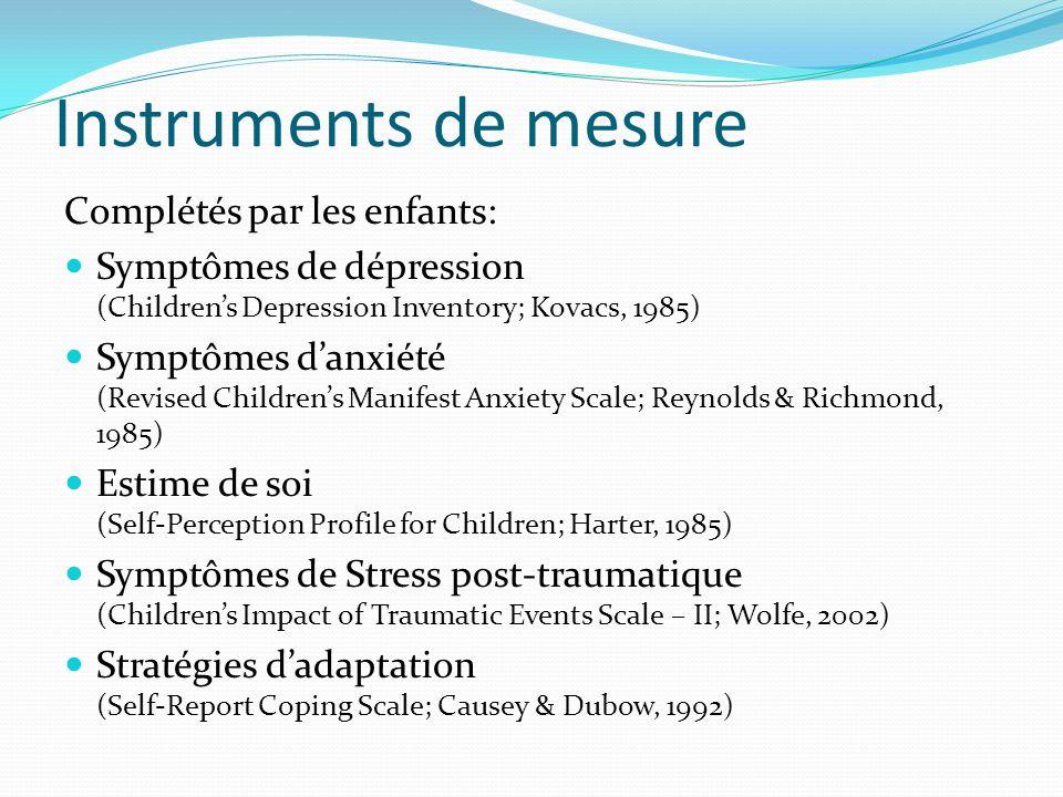 Instruments de mesure Complétés par les enfants: Symptômes de dépression (Childrens Depression Inventory; Kovacs, 1985) Symptômes danxiété (Revised Ch