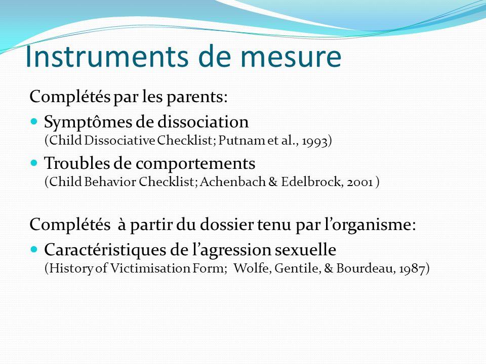 Instruments de mesure Complétés par les parents: Symptômes de dissociation (Child Dissociative Checklist; Putnam et al., 1993) Troubles de comportemen