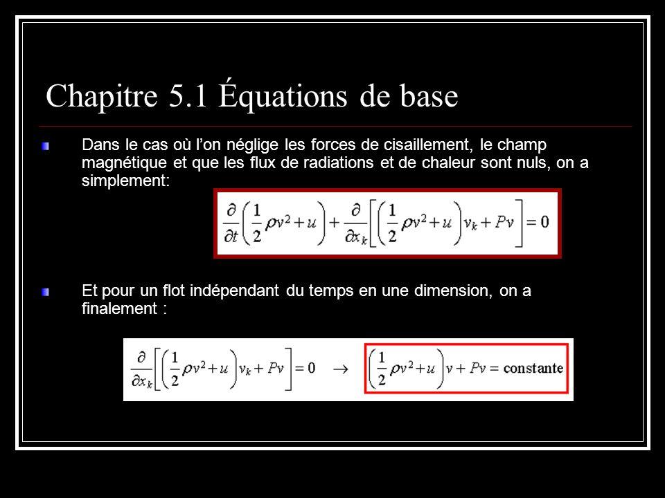 Dans le cas où lon néglige les forces de cisaillement, le champ magnétique et que les flux de radiations et de chaleur sont nuls, on a simplement: Et pour un flot indépendant du temps en une dimension, on a finalement : Chapitre 5.1 Équations de base