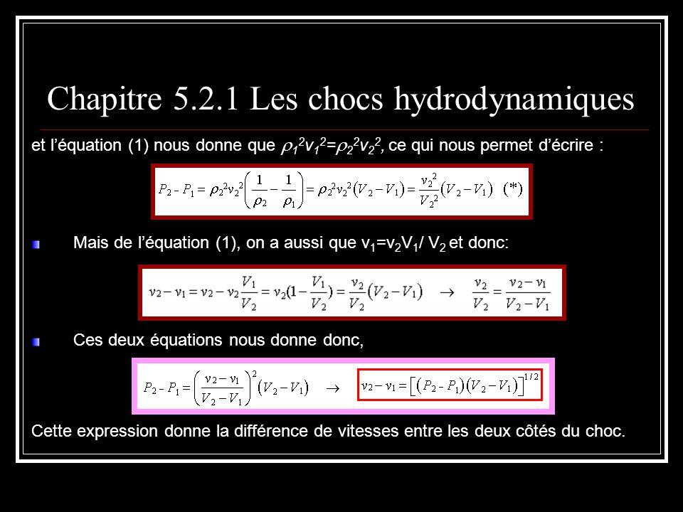 et léquation (1) nous donne que 1 2 v 1 2 = 2 2 v 2 2, ce qui nous permet décrire : Mais de léquation (1), on a aussi que v 1 =v 2 V 1 / V 2 et donc: Ces deux équations nous donne donc, Cette expression donne la différence de vitesses entre les deux côtés du choc.