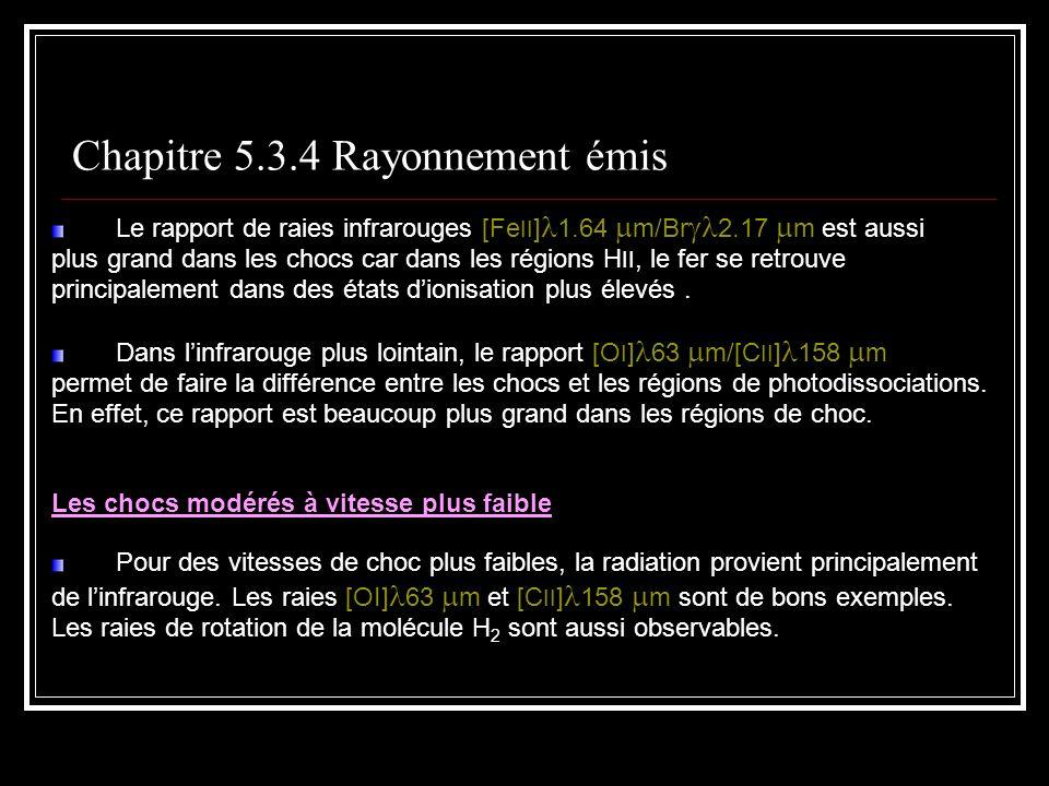 Le rapport de raies infrarouges [Fe II ] 1.64 m/Br 2.17 m est aussi plus grand dans les chocs car dans les régions H II, le fer se retrouve principalement dans des états dionisation plus élevés.