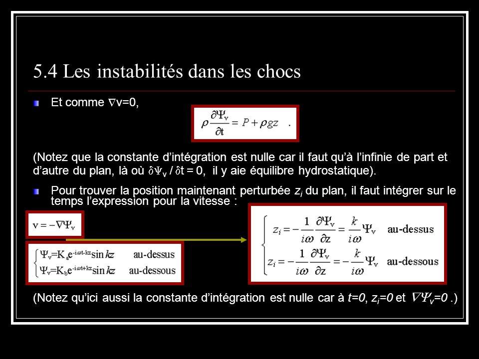 5.4 Les instabilités dans les chocs Et comme v=0, (Notez que la constante dintégration est nulle car il faut quà linfinie de part et dautre du plan, là où v / t = 0, il y aie équilibre hydrostatique).