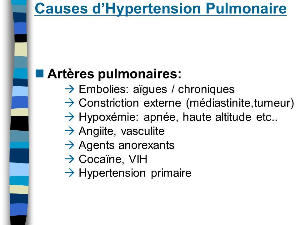 Causes d`Hypertension Pulmonaire Du tronc pulmonaire commun jusqua laureillette G