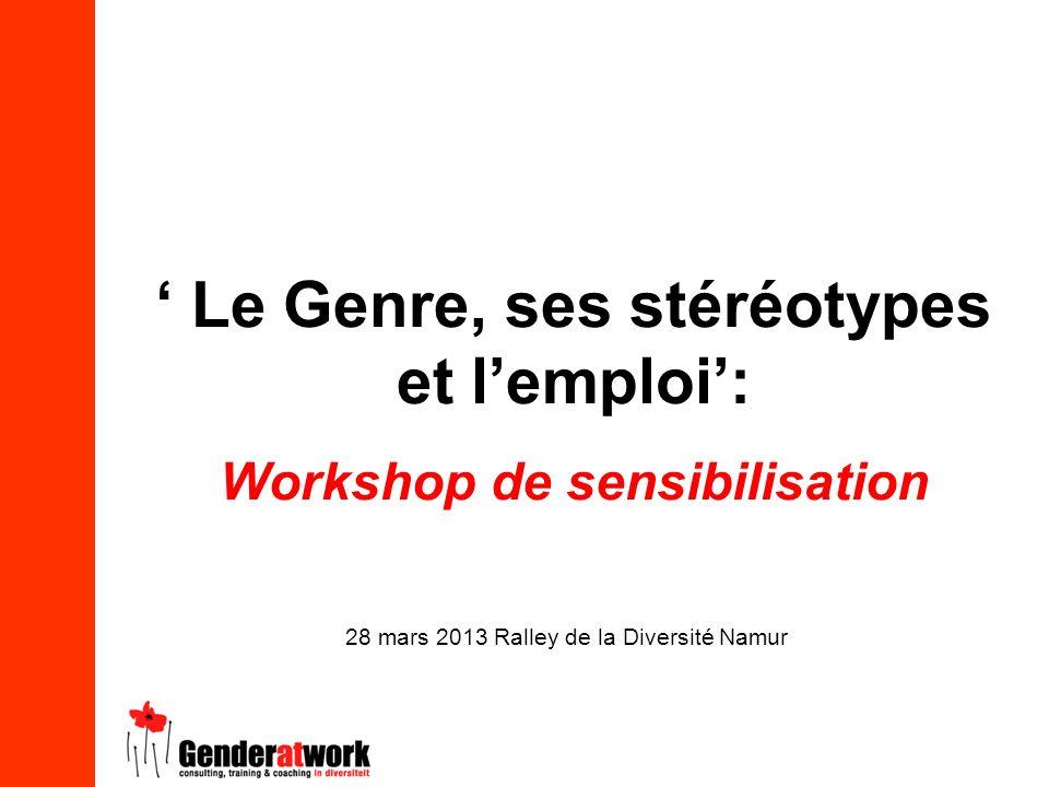 Le Genre, ses stéréotypes et lemploi: Workshop de sensibilisation 28 mars 2013 Ralley de la Diversité Namur