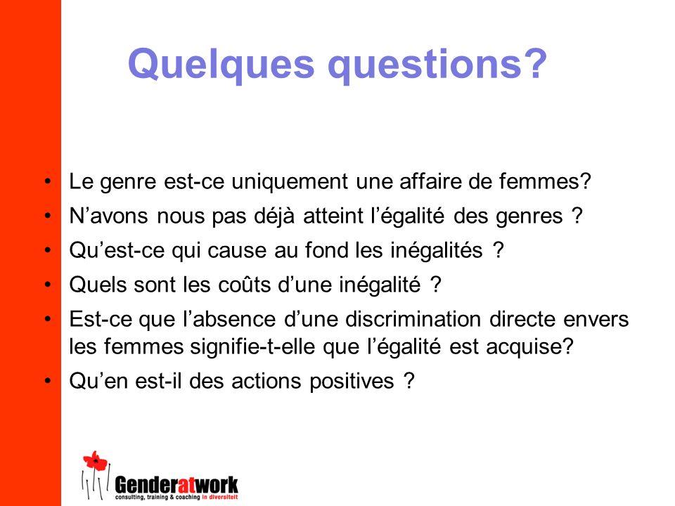 Quelques questions? Le genre est-ce uniquement une affaire de femmes? Navons nous pas déjà atteint légalité des genres ? Quest-ce qui cause au fond le
