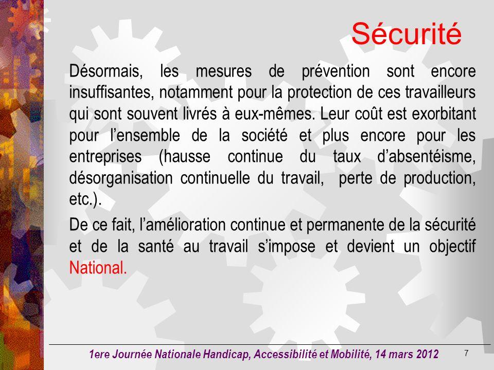 Sécurité 6 50.000 accidents de travail On enregistre dans nos entreprises Algériennes dont 750 à 800 sont mortels avec 14.10 5 journées perdues indemn
