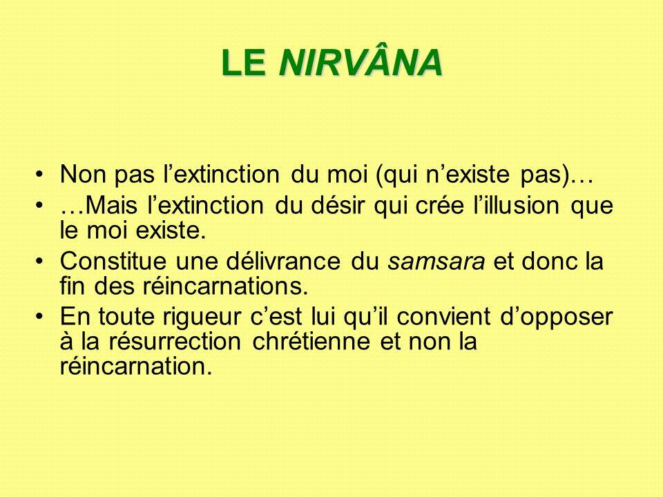 LE NIRVÂNA Non pas lextinction du moi (qui nexiste pas)… …Mais lextinction du désir qui crée lillusion que le moi existe. Constitue une délivrance du