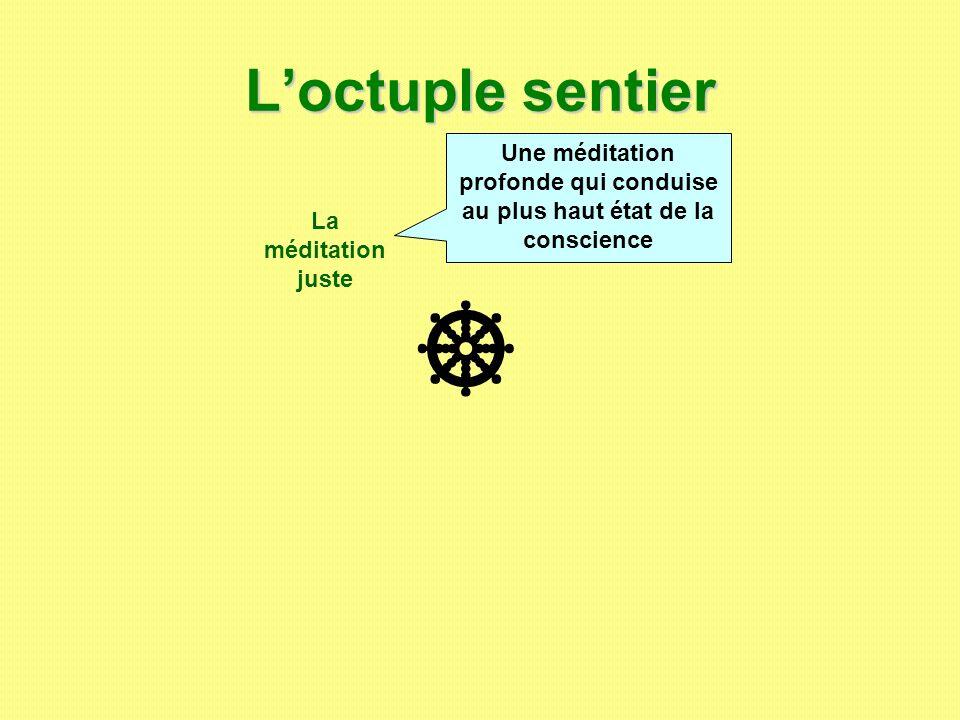 Loctuple sentier La méditation juste Une méditation profonde qui conduise au plus haut état de la conscience