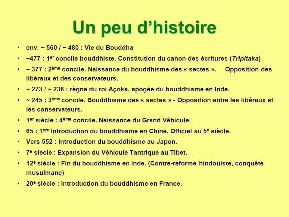 Un peu dhistoire env. ~ 560 / ~ 480 : Vie du Bouddha ~477 : 1 er concile bouddhiste. Constitution du canon des écritures (Tripitaka) ~ 377 : 2 ème con