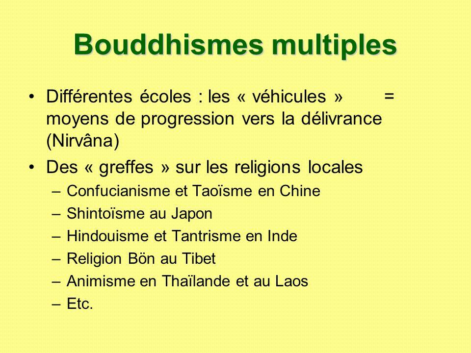 Bouddhismes multiples Différentes écoles : les « véhicules » = moyens de progression vers la délivrance (Nirvâna) Des « greffes » sur les religions lo