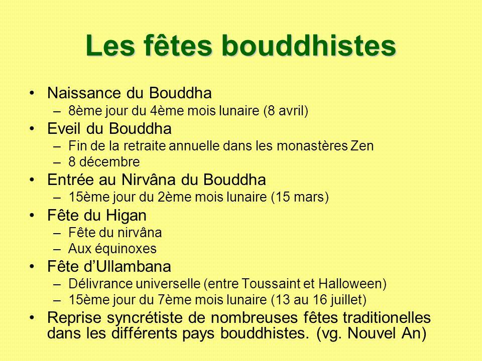 Les fêtes bouddhistes Naissance du Bouddha –8–8ème jour du 4ème mois lunaire (8 avril) Eveil du Bouddha –F–Fin de la retraite annuelle dans les monast