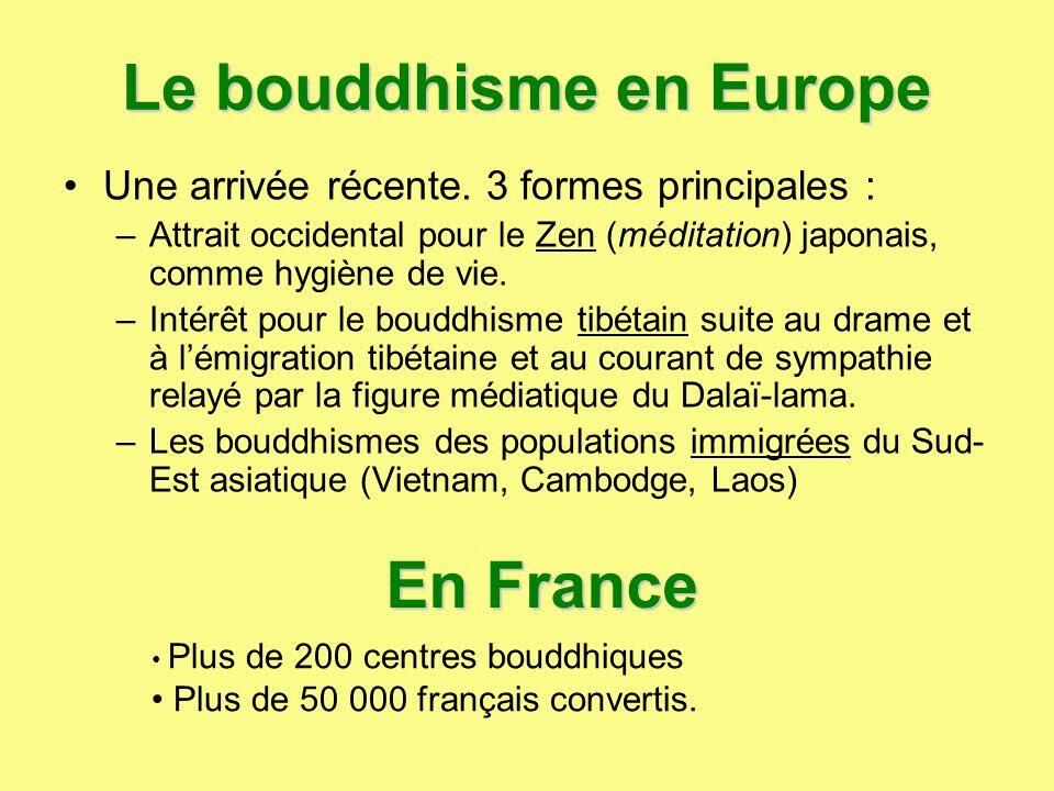 Le bouddhisme en Europe Une arrivée récente. 3 formes principales : –Attrait occidental pour le Zen (méditation) japonais, comme hygiène de vie. –Inté
