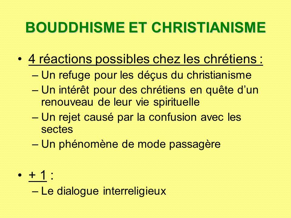 BOUDDHISME ET CHRISTIANISME 4 réactions possibles chez les chrétiens : –U–Un refuge pour les déçus du christianisme –U–Un intérêt pour des chrétiens e