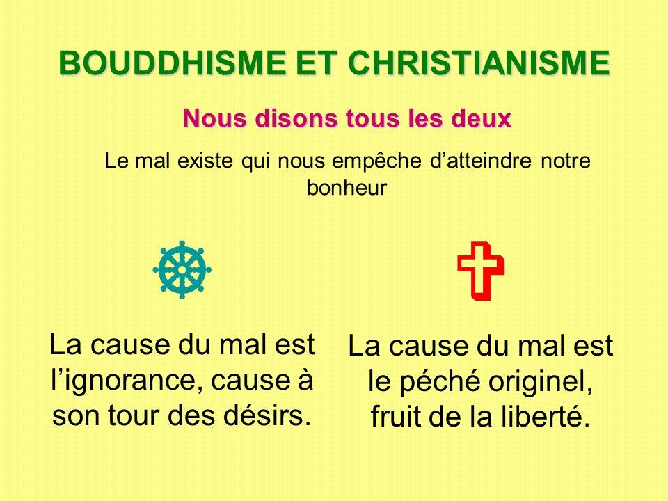 BOUDDHISME ET CHRISTIANISME La cause du mal est lignorance, cause à son tour des désirs. La cause du mal est le péché originel, fruit de la liberté. N