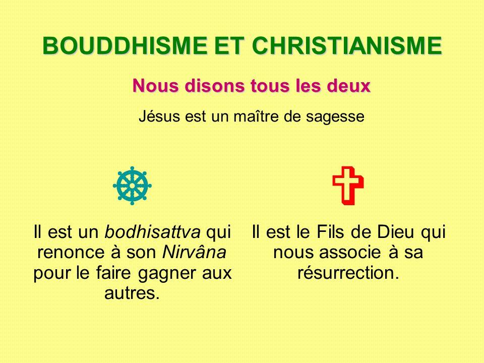 BOUDDHISME ET CHRISTIANISME Il est un bodhisattva qui renonce à son Nirvâna pour le faire gagner aux autres. Il est le Fils de Dieu qui nous associe à