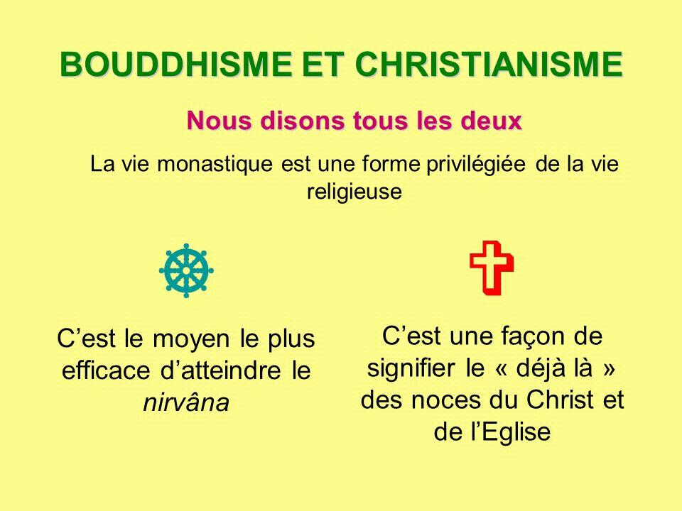 BOUDDHISME ET CHRISTIANISME Cest le moyen le plus efficace datteindre le nirvâna Cest une façon de signifier le « déjà là » des noces du Christ et de
