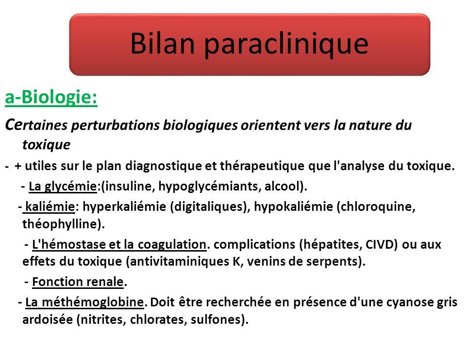 a-Biologie: Ce rtaines perturbations biologiques orientent vers la nature du toxique - + utiles sur le plan diagnostique et thérapeutique que l'analys