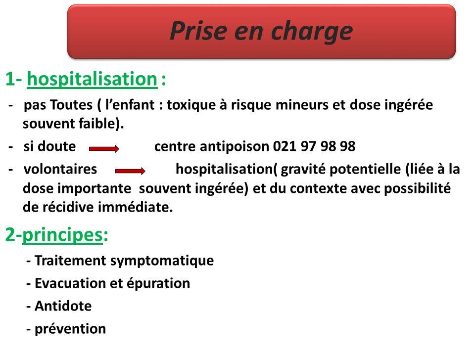 Prise en charge 1- hospitalisation : - pas Toutes ( lenfant : toxique à risque mineurs et dose ingérée souvent faible). - si doute centre antipoison 0
