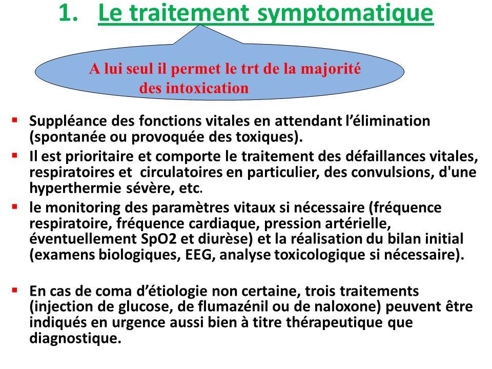 1.Le traitement symptomatique Suppléance des fonctions vitales en attendant lélimination (spontanée ou provoquée des toxiques). Il est prioritaire et